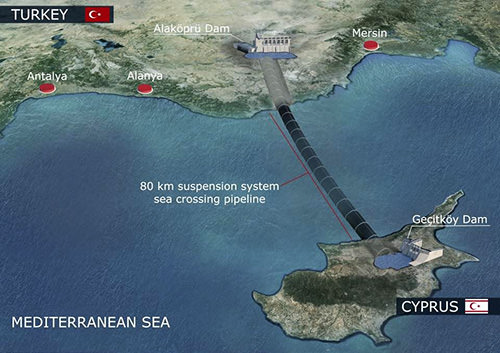 The 80km-long underwater sea crossing pipeline will deliver fresh water and solve a significant problem for Northern Cyprus