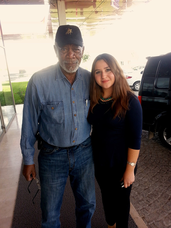 Morgan Freeman is seen with a fan in Turkey's Konya province. Freeman came to Konya for the shooting of ,The Story of God, (AA Photo)