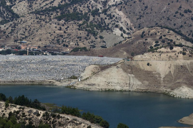 A view of a reservoir in Myrtoy that will receive fresh water from Turkey via a water pipeline project linking Turkey to North Cyprus.