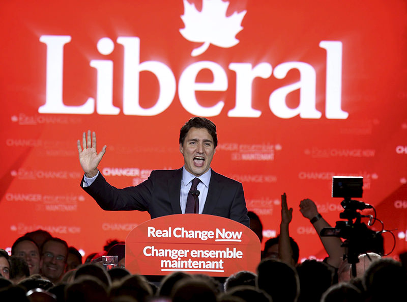 Liberal Party leader Justin Trudeau gives his victory speech after Canada's federal election in Montreal, Quebec, October 19, 2015 (Reuters Photo)