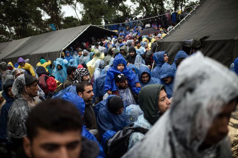 Migrants wait to enter Croatia at the Serbian-Croatian border near the western Serbian village of Berkasovo.