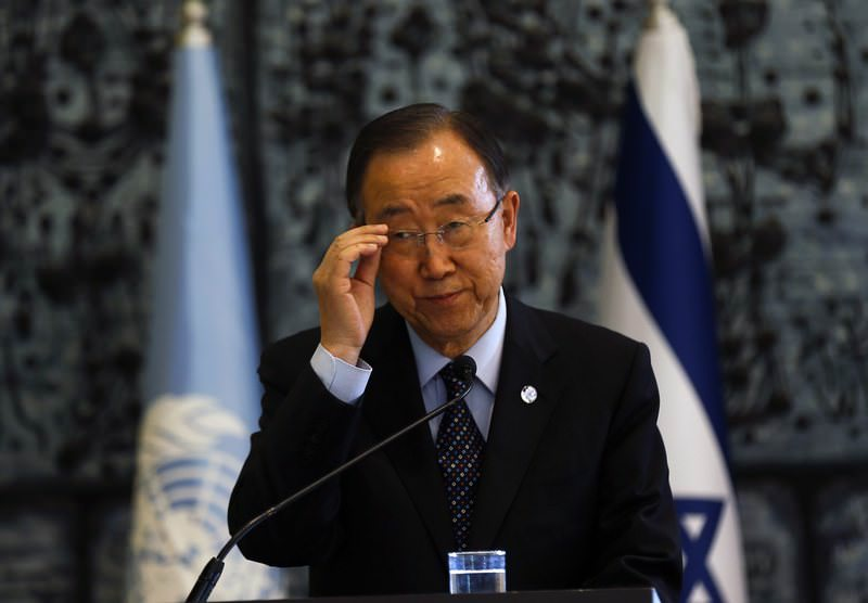 UN Secretary General Ban Ki-moon speaks during a joint press conference with Israeli President Reuven Rivlin in Jerusalem, Israel, 20 October 2015.  (EPA Photo)