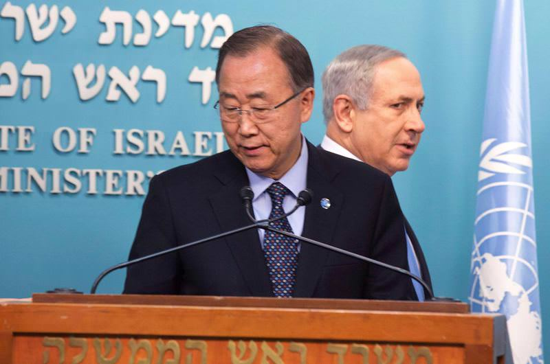 Israeli Prime Minister Benjamin Netanyahu (R) and United Nations chief Ban Ki-moon hold a joint presser at the Prime Minister's office in Jerusalem.