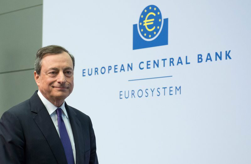 President of the ECB, Mario Draghi, arrives for his news conference in Frankfurt/Main, Germany, 15 April 2015. (EPA Photo)