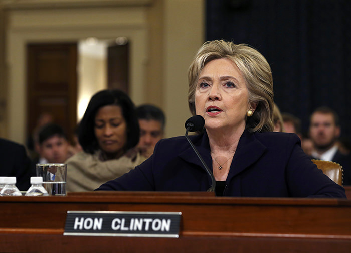 Democratic presidential candidate Hillary Clinton testifies before the House Select Committee on Benghazi, on Capitol Hill in Washington October 22, 2015 (Reuters Photo)