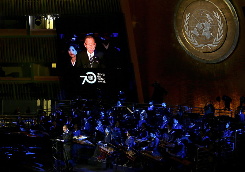 UN) Secretary-General Ban Ki-moon addresses the 70th anniversary UN Day Concert presented by the United Nations (EPA Photo)