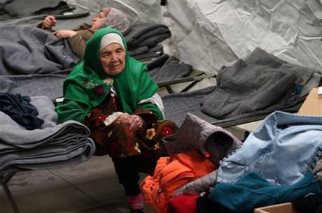105-year old Afghan woman. Bibihal Uzbeki from Kunduz, Afghanistan, rests in Croatia's main refugee camp at Opatovac, Croatia, near the border with Serbia, Tuesday, Oct. 27, 2015. (AP Photo)