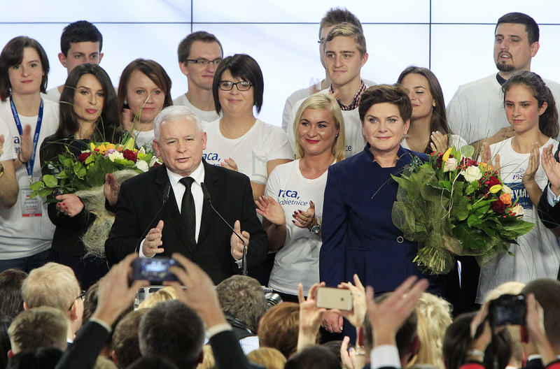 Conservative Law and Justice Party leader Jaroslaw Kaczynski (L) along with the Party's candidate for prime minister, Beata Szydlo (R) deliver a speech at the party's headquarters in Warsaw.