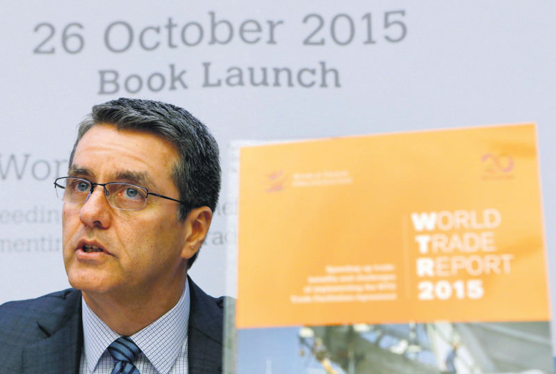 World Trade Organization (WTO) Director-General Roberto Azevedo attends a press conference on the launch of the World Trade Report 2015 in Geneva, Switzerland, Monday.