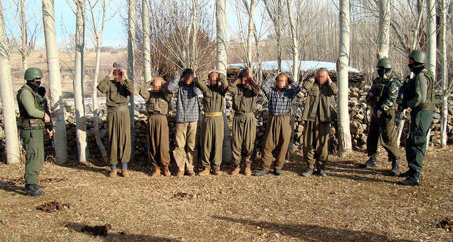 Seven PKK terrorists surrender to Turkish security forces in an operation conducted in Turkey's eastern Bingöl province on December 12, 2012 AA Photo