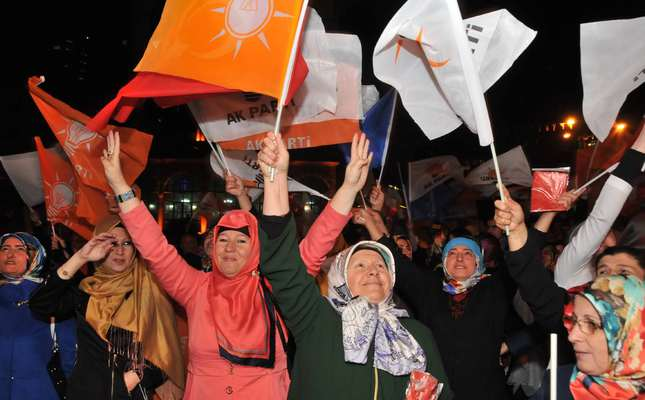 Women in President Erdoğan's hometown Rize celebrating AK Party's straight victory after the announcement of the results. (DHA Photo)