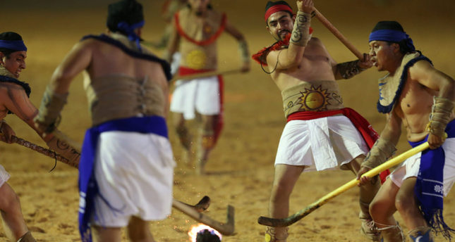 Mexican team play Pelota Purepecha during the final games of the World Indigenous Games, in Palmas, Brazil.