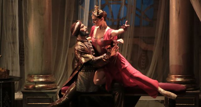"""A scene from """"Hürrem Sultan"""" ballet performance staged by a ballet company in the city of Samsun."""