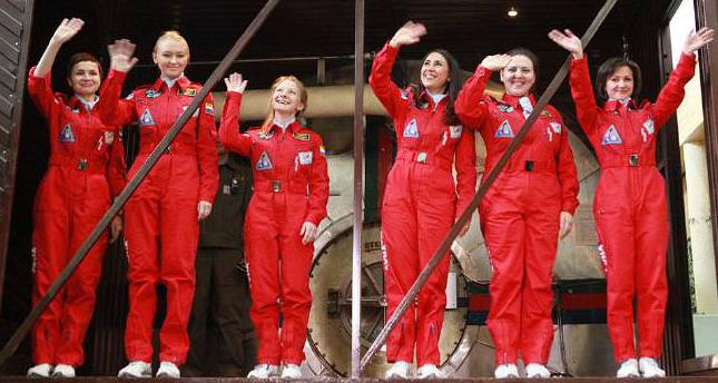 Six female Russian astronauts wave before boarding a capsule for an experiment conducted at Moscow's Institute of Biomedical Problems, Oct  28, 2015. (Facebook Photo)