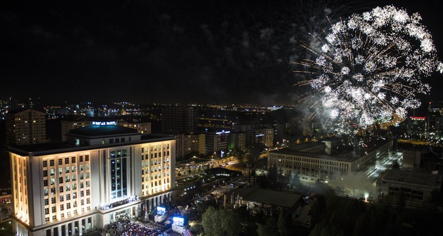 Following PM Davutoğlu's balcony speech to celebrate the AK Party's victory with supporters, a fireworks display was held near the party's headquarters.