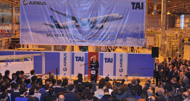 TAI delivered first Aileron set to Airbus through a ceremony in facilities in Kazan, Ankara, on Nov. 3.emAA Photo/em