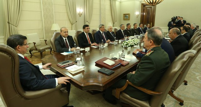Prime Minister Davutoğlu met with top security officials late Wednesday to discuss strategy that will be followed against both the PKK and ISIS.