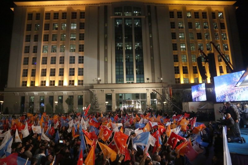 AK Party supporters wait for the start of PM Davutou011flu's speech in front of the party headquarters in Ankara following the Nov. 1 victory.