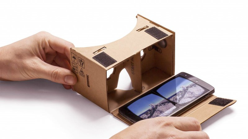 Photo shows Alphabet Inc's ,Cardboard, device, a handheld gadget made from the standard box material that creates a VR viewing experience.