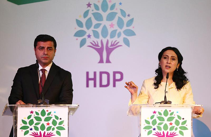 Selahattin Demirtas (Left) and Figen Yu00fcksekdau011f, co-chairs of the pro-Kurdish HDP (AFP Photo)