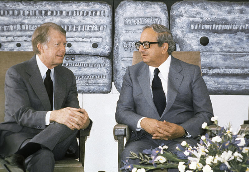 This March 11, 1979 file photo shows the then Presidents of the United State Jimmy Carter, left, and of Israel Yitzhak Navon during a meeting in Jerusalem.  (AP Photo)