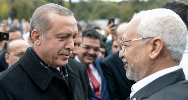 President Erdoğan (L) and Rached Ghannouchi