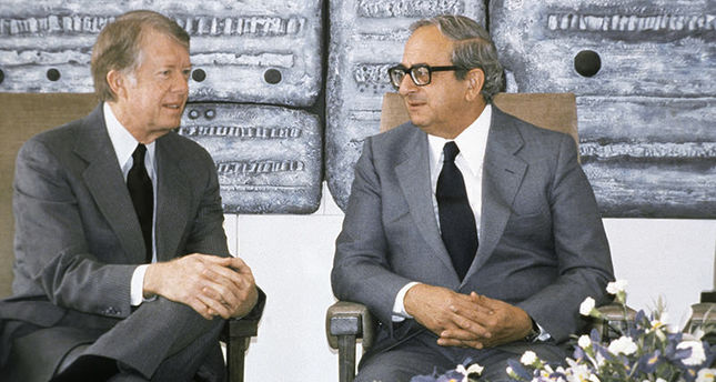 This March 11, 1979 file photo shows the then Presidents of the United State Jimmy Carter, left, and of Israel Yitzhak Navon during a meeting in Jerusalem.  AP Photo