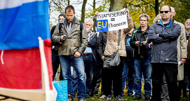 Supporters of the anti-Islam PEGIDA (Patriotic Europeans Against the Islamisation of the West) during a protest rally in Hogelandsepark, Utrecht, Netherlands (EPA Photo)