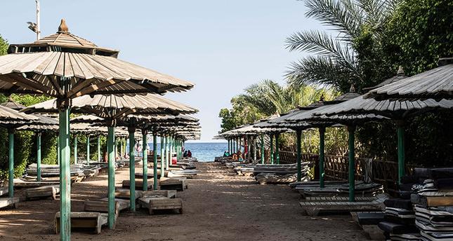An empty public beach is seen in Namaa Bay, Sharm el-Sheikh, Egypt, on Sunday, Nov. 8, 2015. (AP Photo)