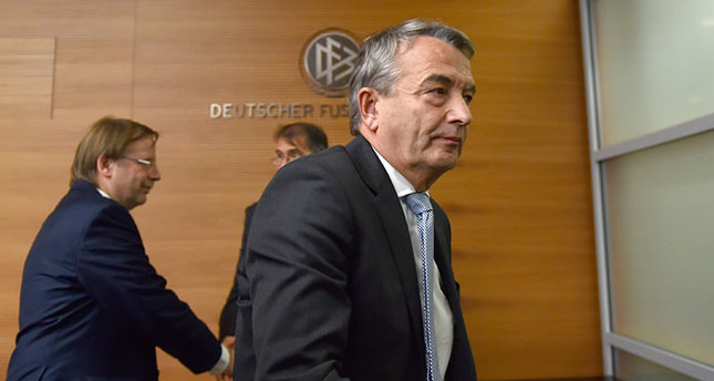 President of German soccer association DFB Wolfgang Niersbach leaves a press conference after a committee meeting of the DFB in Frankfurt/Main, Germany, 09 November 2015. EPA Photo