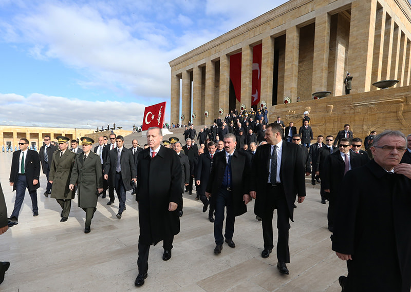 President attends ceremony, held at Anıtkabir (Atatürk's Mausoleum) on the 92nd anniversary of the foundation of the Republic of Turkey.