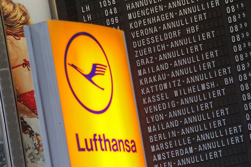 Cancelled Lufthansa flights listed on a display panel at the airport in Frankfurt am Main, Germany (EPA Photo)