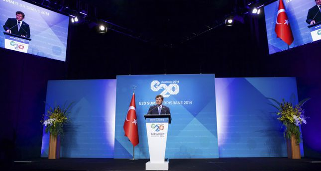 PM Ahmet Davutoğlu speaks during a media conference after the last G20 summit held in Brisbane, Australia on Nov. 16, 2014