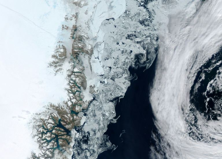 This NASA satellite image released on August 2, 2015 shows the edge of the Zachariae Isstrom glacier on Greenlandu2019's east coast. (AFP Photo)