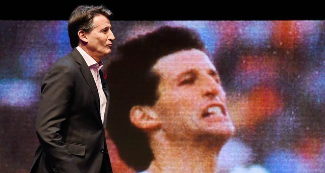 IAAF President Lord Sebastian Coe arrives to speak at the 'Future Decoded' conference in London.
