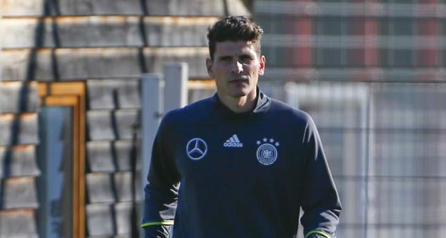 German striker Mario Gomez attends a training session in Munich.