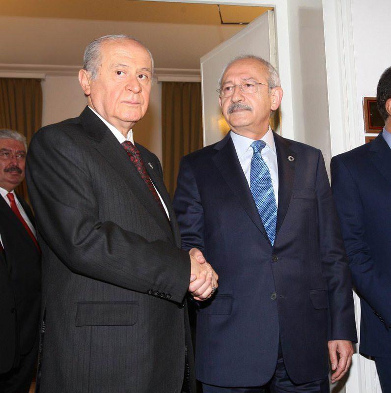 MHP Chairman Bahu00e7eli (L) shaking hands with CHP Chairman Ku0131lu0131u00e7darou011flu (R) following their meeting in 2014.