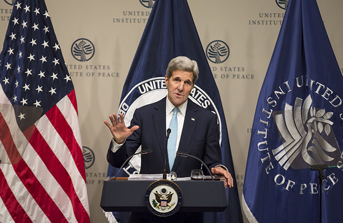 US Sec. of State John Kerry delivers remarks on the ,U.S. strategy in Syria, during a speech at the United States Institute of Peace in Washington November 12, 2015. (Reuters Photo)