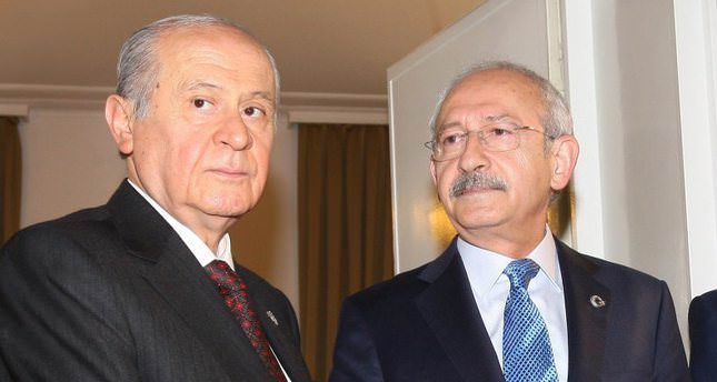 MHP Chairman Bahçeli (L) shaking hands with CHP Chairman Kılıçdaroğlu (R) following their meeting in 2014.