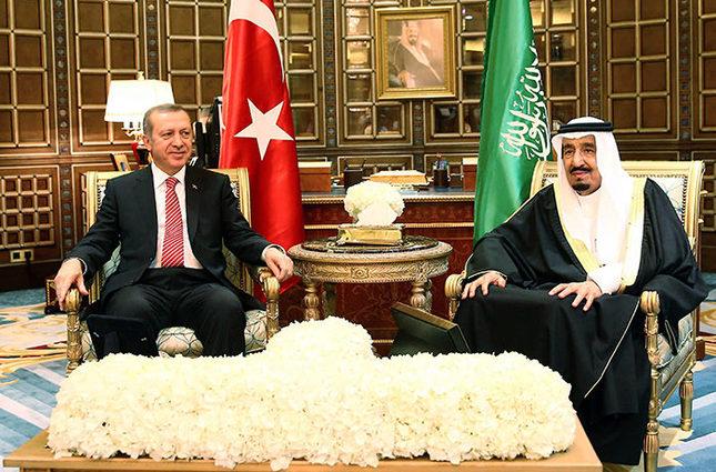 President Recep Tayyip Erdoğan (left) with Saudi King Salman bin Abdulaziz Al Saud (EPA/IHA Photo)
