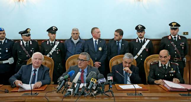 Italian officials during a press conference in Rome, Italy 12 November 2015, over the anti terrorism operation in which 17 arrest warrants for Iraqi Kurds have issued. (EPA Photo)