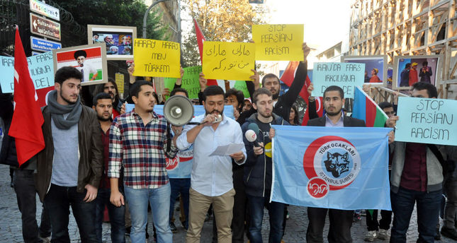 Protesters denounced Iran for racism in a rally outside the Iranian consulate in Istanbul.