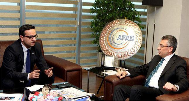 AFAD President Fuat Oktay (R) speaks to Daily Sabah's Ali Ünal.