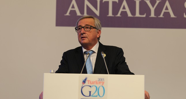 European Commission President Jean-Claude Juncker gives a press conference at G20 Summit in Antalya, Turkey November 15, 2015 (AA Photo)