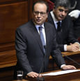 French President Francois Hollande delivers a speech to members of Parliament during an exceptional joint gathering of Parliament in Versailles on November 16, 2015. (AFP Photo)
