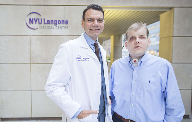 This November 12, 2015 photo provided by the NYU Langone Medical Center shows Dr. Eduardo D. Rodriguez,MD, DDS, chair, Hansjorg Wyss Dept. Plastic Surgery, NYU Langone, pictured with his face transplant patient Patrick Hardison (AFP Photo)