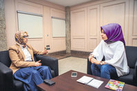Esra Biçer(R) from Daily Sabah interviewed Selva Çam (L), the current head of the AK Party's women's branches.