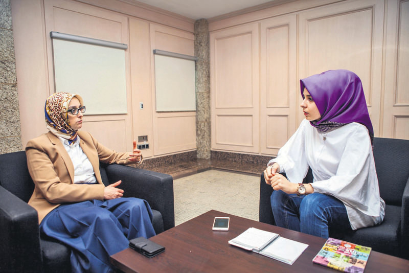 Esra Biu00e7er(R) from Daily Sabah interviewed Selva u00c7am (L), the current head of the AK Party's women's branches.