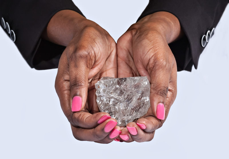 The stone measures 65mm x 56mm x 40mm in size and is the largest ever to be recovered in Botswana. (AA Photo)