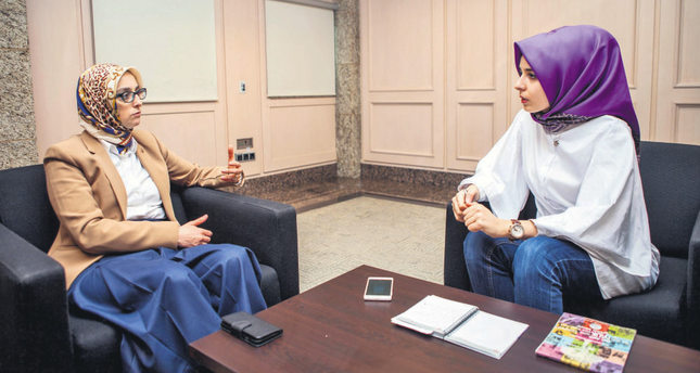 Esra Biçer (R) from Daily Sabah interviewed Selva Çam (L), the current head of the AK Party's women's branches.